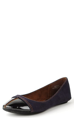 Quintus87 Patent Toe Colored Stitch Flats NAVY
