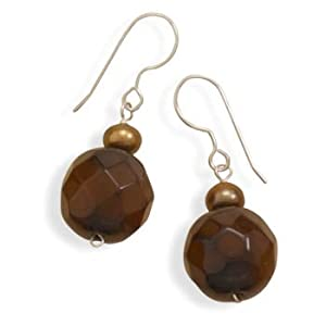 Sterling Silver French Wire Earrings Bronze Cultured Fw Pearls Faceted Antique Carnelian Drop