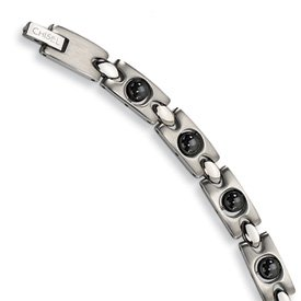 Stainless Steel Black Plated Magnetic Links Bracelet SRB105-8.5