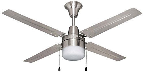 Litex E-UB48BC4C1 Urbana 48-Inch Ceiling Fan with Five Brushed Chrome Blades and Single Light Kit with Frosted Glass (Circular Ceiling Fan compare prices)