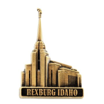 LDS Mens Rexburg Idaho Temple Gold Steel Tie Tac / Tie Pin for Boys