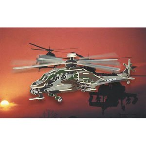 Puzzled Colorful Wood Craft Construction Apache Helicopter 3D Jigsaw Puzzle