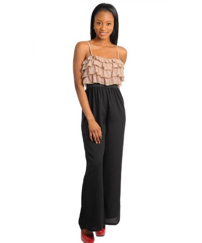 G2 Fashion Square Women's Ruffle Tier Strappy Jumpsuit