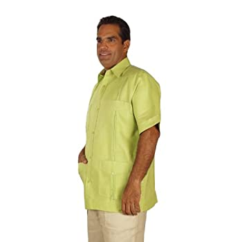Linen guayabera for men short sleeve in sage.