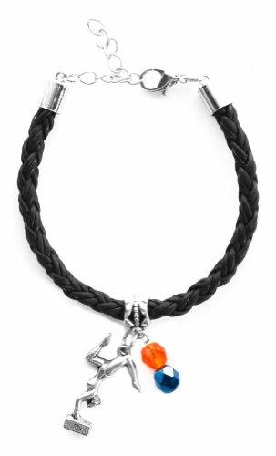 """Gymnast Girl"" Braided Leather Gymnastics Bracelet (Team Colors Orange & Navy Blue)"