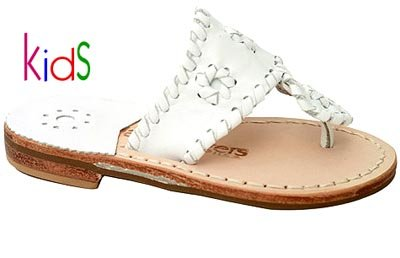Jack Rogers Miss Navajo Kids Girls Flat Leather Thong Sandals (4, White)