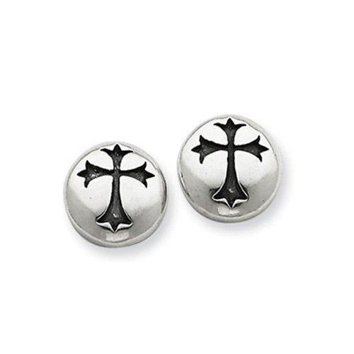 Sterling Silver Antiqued Fleur-de-lis Cross Earrings