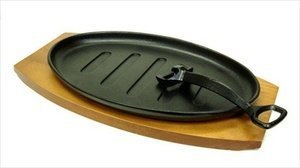 Happy Sales HSS-TBSP1,  Cast Iron Steak Plate Set Large, 7W x 2H x 12L, Black