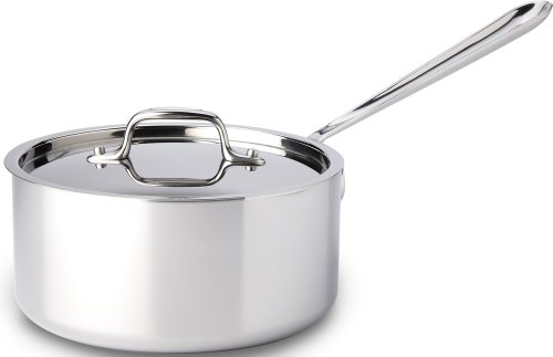 All-Clad 4203 Stainless Steel Tri-Ply Bonded Dishwasher Safe Sauce Pan with Lid / Cookware, 3-Quart, Silver (All Clad 3 Qt Saute Pan compare prices)