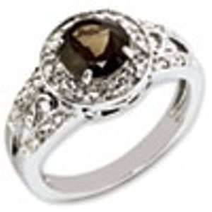 Sterling Silver Genuine Smokey Quartz & Diamond Ring - Brilliant Colored Gemstones - Jewelry