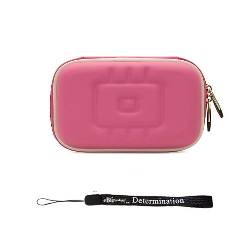 Magenta EVA Durable Slim Protective Storage Cover Cube Carrying Case with Internal Mesh Pocket and Carabiner clip for Olympus FE-4050 FE-5040 FE-5050 Stylus-5010 Stylus-7040 Stylus-7050 Stylus-9000 Stylus Tough-3000 Stylus Touch 6020 Stylus Touch-8010 Point and Shoot Digital Camera + Includes eBigValue Determination Hand Strap Key Chain