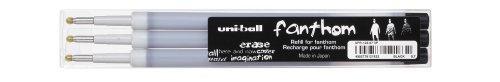 UNI-BALL Lot de 3 Recharges Fanthom effaçable UFR122/07 Pte Moy. 0,7mm Noir