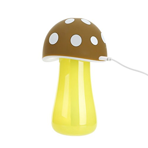 Lovely Mushroom Mini Quiet LED Light USB Mood Cool Mist Aroma Diffuser Air Purifier Humidifier Fragrance Oil Atomizer with Auto Shut-off for Baby Bedroom,Home,Office,Car Use