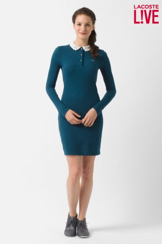 L!VE Long Sleeve Lace Collar Polo Dress