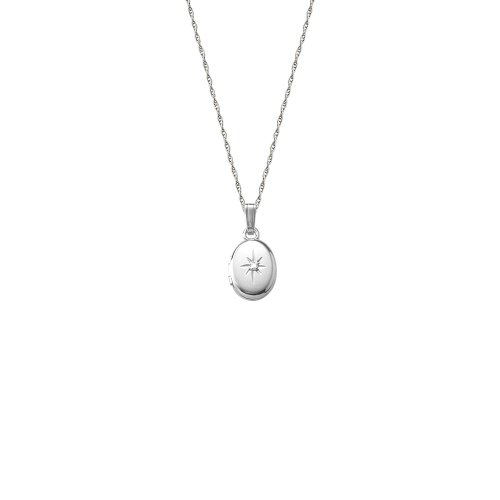 14k White Gold Children's Oval Locket with Genuine Diamond Necklace, 13