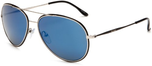 Police Aviator Men's Sunglasses Silver/Blue Mirror S8299 58583B One Size