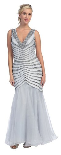 Mother of the Bride Formal Evening Dress #462 (20, Silver)