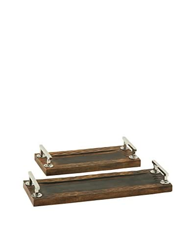 Set of 2 Wood & Steel Trays, Brown