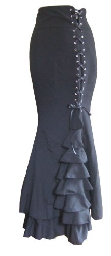 DangerousFX Women's Long Frilly Fishtail Corset Skirt