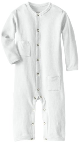 L'Ovedbaby Unisex-Baby Newborn Organic Long-Sleeve Overall, White, 9/12 Months front-706761