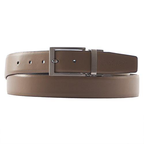 Cintura classica Giove, in vera pelle double face colore marrone - beige, dimensioni in cm: 120 L x 3,5 h