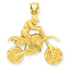 14k Dirt Bike Rider Pendant - Measures 31x27mm - JewelryWeb