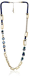 """Kenneth Cole New York """"City Surf"""" Blue Mixed Bead and Rectangle Link Long Necklace"""
