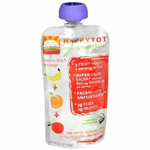 Happy Baby HappyTot Organic Baby Food Toddler Meal on the go - Banana - Peach - Mango - 4.22 pouch