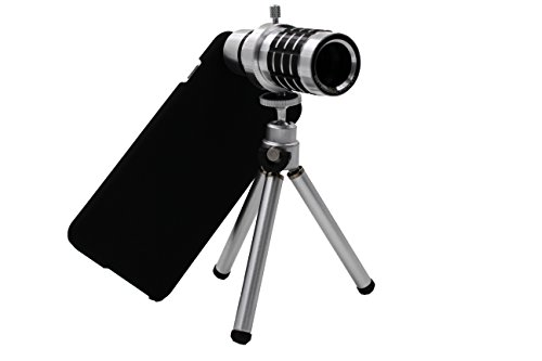 "12x Zoom Aluminum Universal Manual Focus Telephoto Telescope Phone Camera Lens Kit + Mini Tripod + Case For iPhone 6 (4.7"") (iphone 6 12x Silver)"