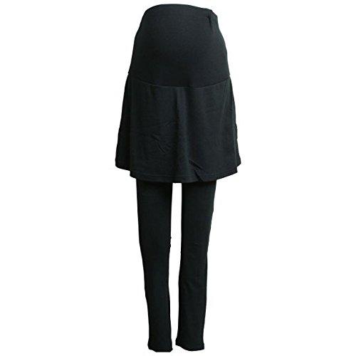 マタニティ レギンス パンツ スカート付 無地 ウエストリブ ルームウェアパンツ ブラック-M7745 L