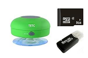 Wireless Mini Waterproof Bluetooth Suction Shower Car Handsfree Mic Speaker (Green) by TETC