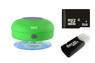 Wireless Mini Waterproof Bluetooth Suction Shower Car Handsfree Mic Speaker (Green)
