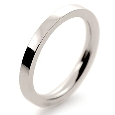 18ct White Gold Wedding Ring Very Heavy Flat Court - 2mm