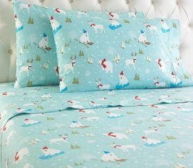 Shavel Micro Flannel Sheet Set, Queen, Fun In The Snow (Christmas Flannel Sheets compare prices)