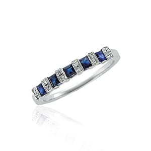 Princess Cut 5 Sapphire and Diamond Band in 14K White Gold - Size 7