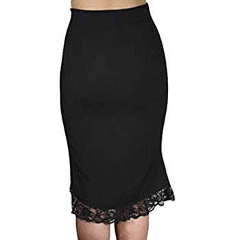 -Lacey Tulips- Vintage Style 40s 50s Retro Black Lace Ruffle Pencil Skirt