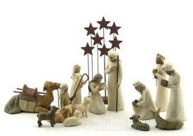 Willow Tree 14 Piece Starter Nativity Set By Susan Lordi with Go Green! Compressed Bamboo Towels