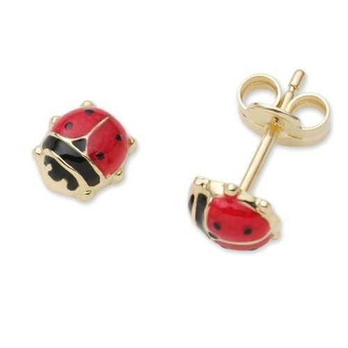Children's Gold Earrings, 18ct Yellow Gold Ladybird Studs, by Miore, MK008E