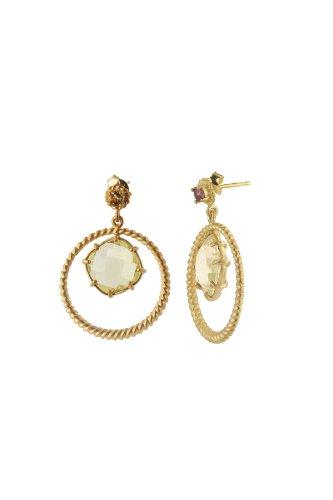 Sterling Silver and Lemon Quartz Round Drop Earrings