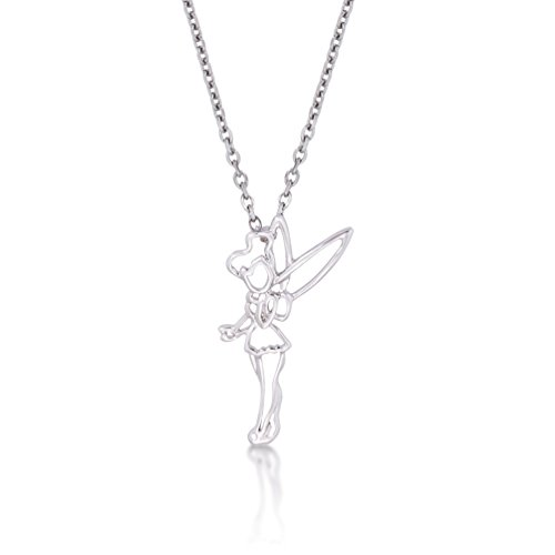 Disney Couture Placcato Oro Bianco Peter Pan Tinkerbell Outline carattere collana