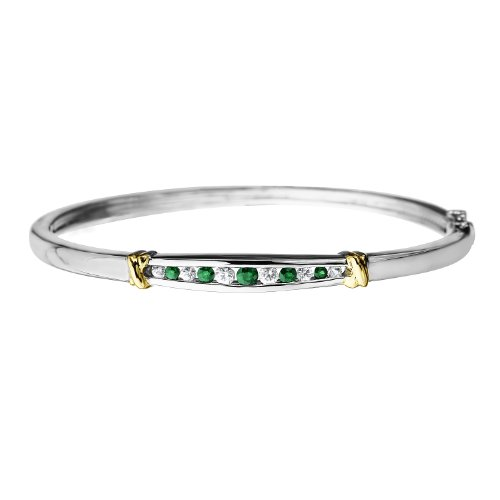 Sterling Silver and 14k Gold Emerald and White Sapphire Bangle Bracelet