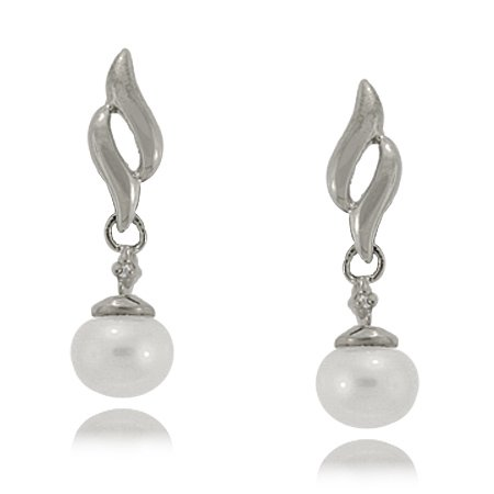 Pearl Earrings Sterling Silver - 5.5mm Freshwater Drops