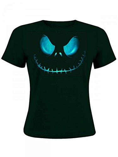 Nightmare Before Christmas - T-shirt per ragazza con motivo faccia di Jack Skeletron - Licenza ufficiale - Girocollo - Nero - S