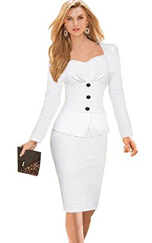 Babyonline Women's Classic Slim Fit Long Sleeve Wear to Work Midi Bodycon Dress