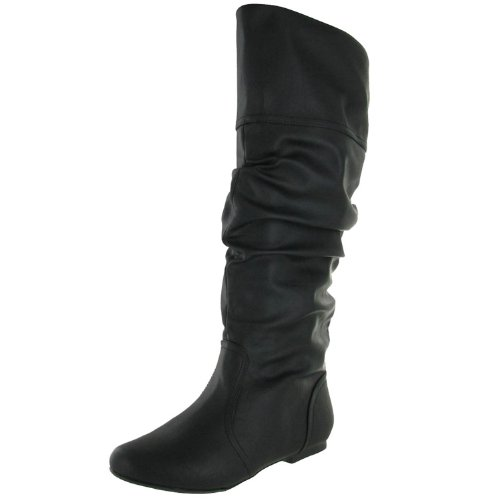 Women'S Classic Soft Slouchy Flat To Low Heel Knee High Boots Black (6.5)