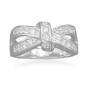 Sterling Silver Rhodium Plated CZ Love Knot Look Ring / Size 5