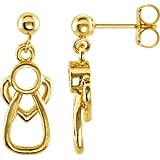 14K Yellow Gold With Me Always Angel Heart Ear