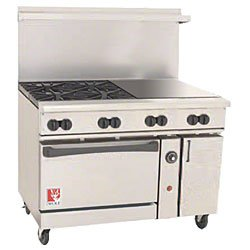 Wolf C48-S-4B-24G-N 48€ Gas Open Burner/Griddle Top Restaurant Range -Challenger Xl Series