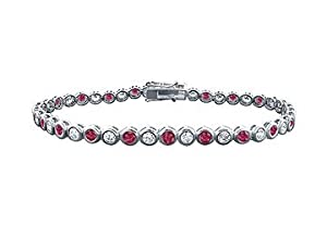 Ruby and Diamond Tennis Bracelet : Platinum - 4.00 CT TGW