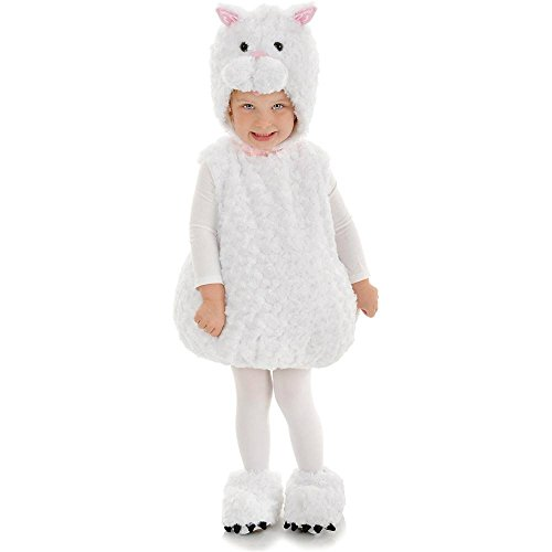 White Cat Plush Belly Toddler Costume